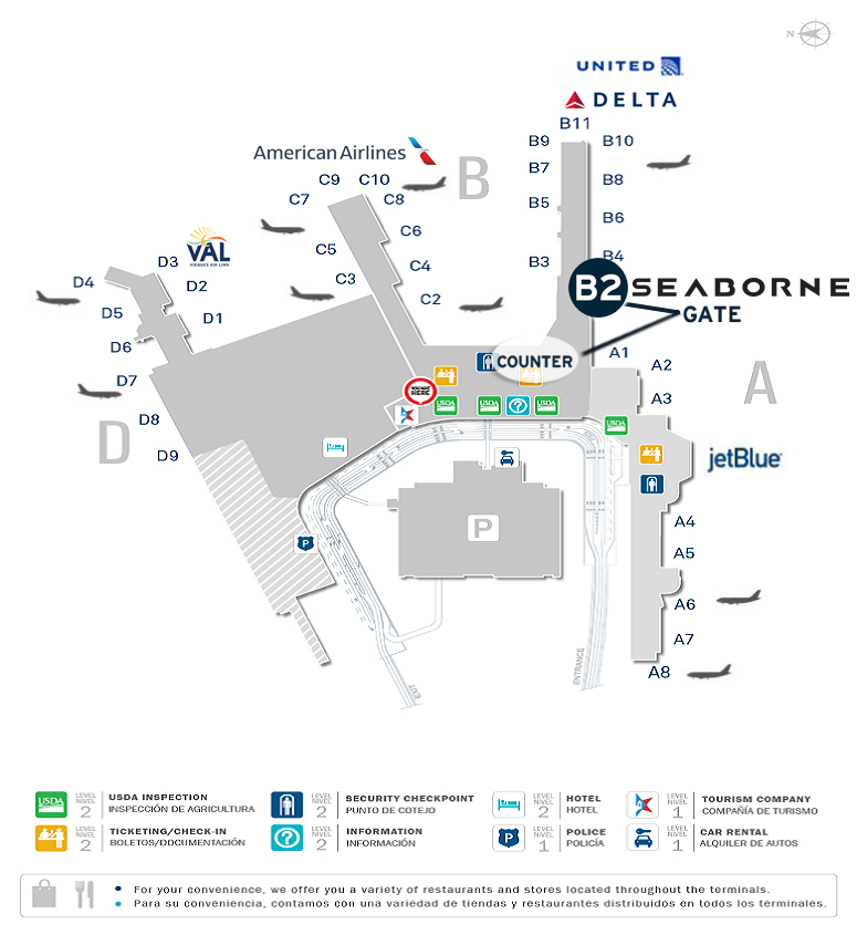 San Juan Airport Map SEABORNE COUNTER AND GATE MOVES AT SJU   Seaborne Airlines